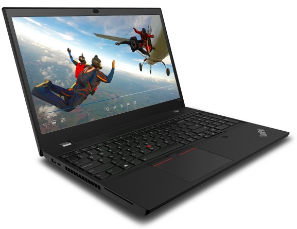 Lenovo ThinkPad T15p laptop open 95 degrees, angled to show left-side ports.