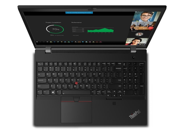 Overhead shot of Lenovo ThinkPad T15p laptop showing keyboard and display.