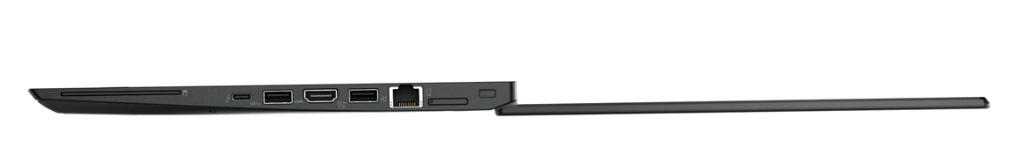 Lenovo ThinkPad T470s Right Side View Open 180 Degrees