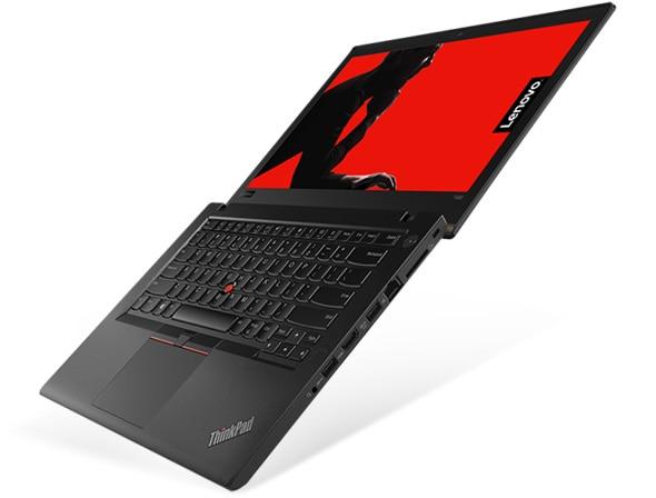 Lenovo ThinkPad T480 - Vue latérale du portable ouvert à 180 degrés
