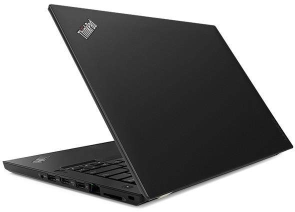 Lenovo ThinkPad T480 - Vue arrière du portable légèrement entrouvert
