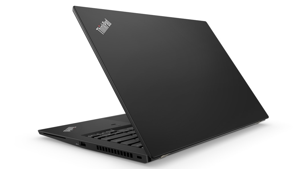 Lenovo ThinkPad T480S - Side-on view from the back with laptop slightly opened