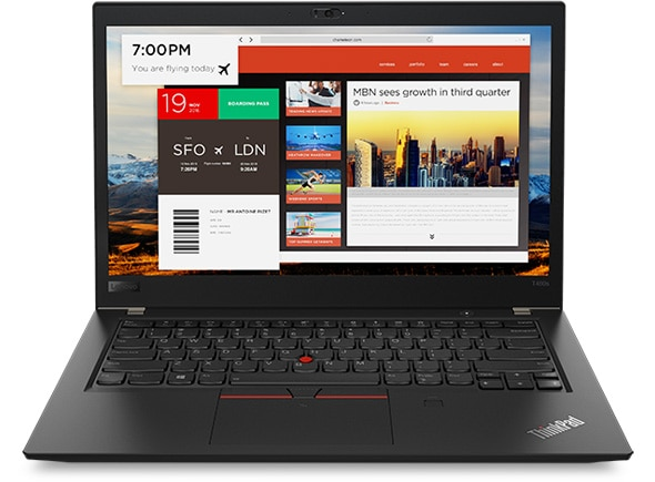 Lenovo ThinkPad T480s - Front shot with multiple apps opened