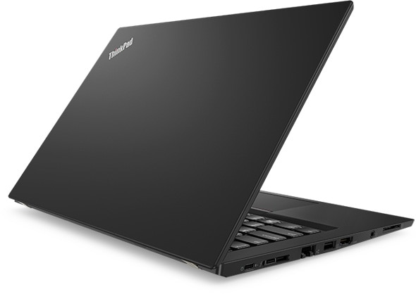 Lenovo ThinkPad T480s - Side-on shot from the rear, with the laptop slightly open