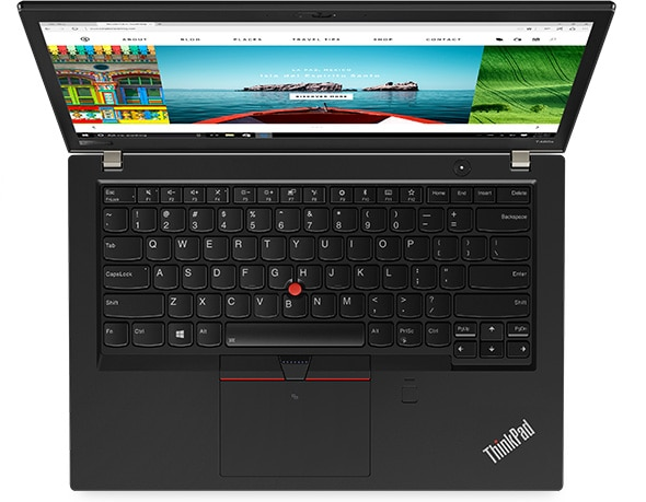 Lenovo ThinkPad T480s - Overhead view showing the legendary ThinkPad keyboard