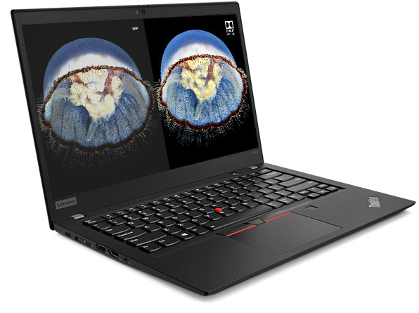 Lenovo ThinkPad T490s showing the WQHD display with Dolby Vision alongside FHD display without.