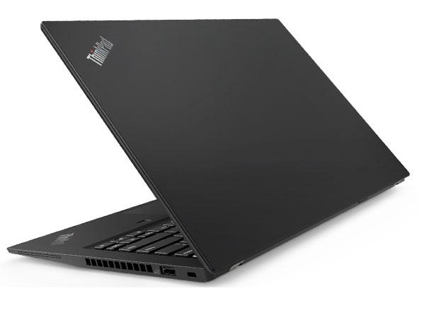 Lenovo ThinkPad T490s backside, in black.