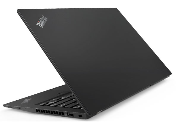 Lenovo ThinkPad T490s backside, in black.