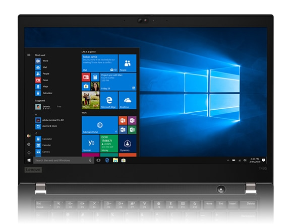 A ThinkPad T495 laptop's 14-inch screen, showing the Windows 10 start menu and app icons.