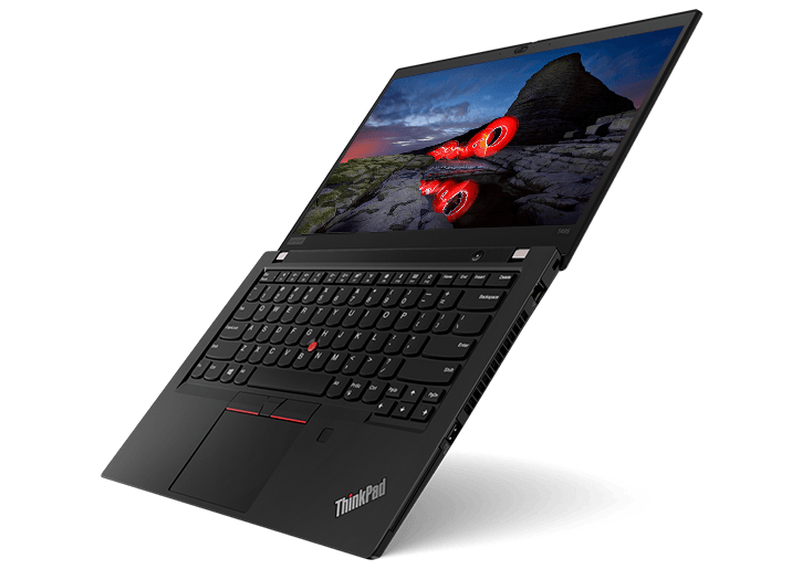 A ThinkPad T495 business laptop balanced at a 45-degree angle, revealing both the screen & keyboard