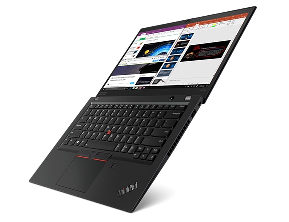 A super sleek, light ThinkPad T495s laptop balanced at a 45-degree angle