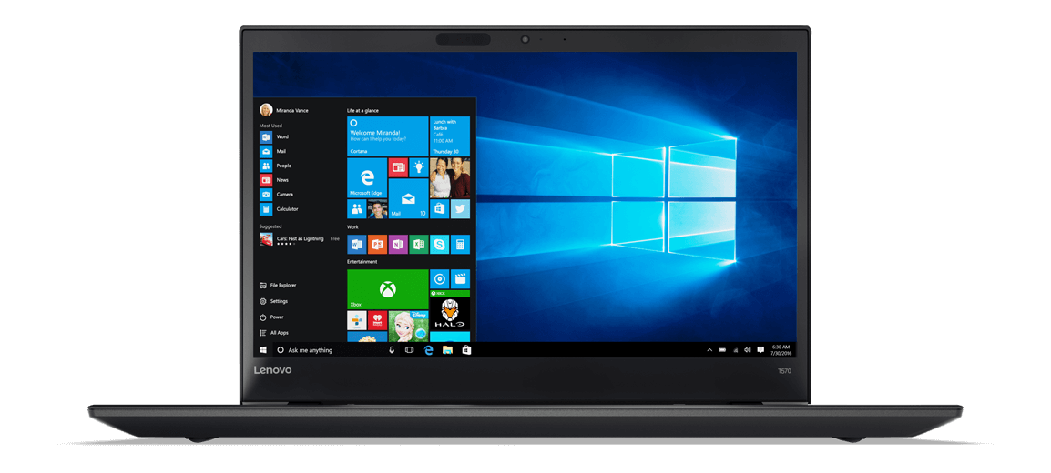 Lenovo ThinkPad T570 Front View