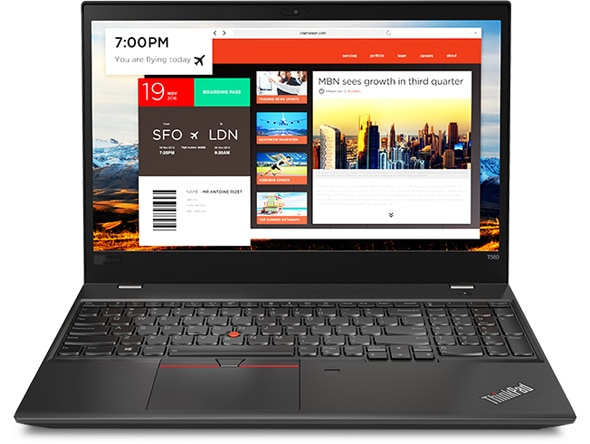 Lenovo ThinkPad T580 - Front-facing view, showing many apps open