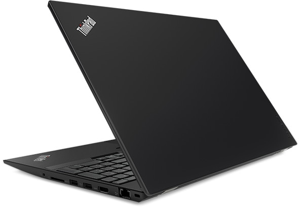 Lenovo ThinkPad T580 - Side-on view from the back with laptop slightly opened