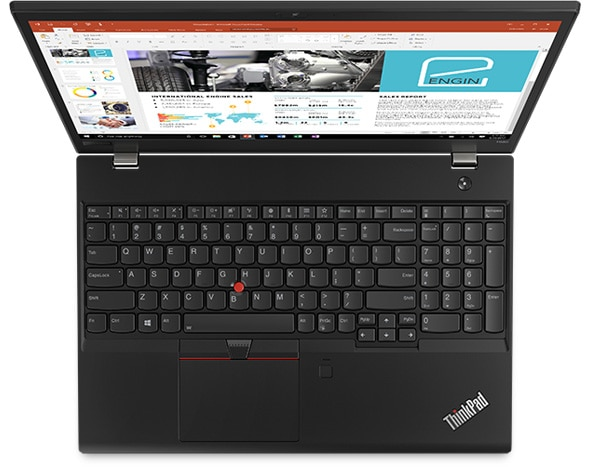 Lenovo ThinkPad T580 - Overhead shot showing keyboard and 15