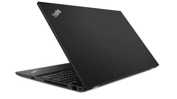 Lenovo ThinkPad T590 backside, open 80 degrees.