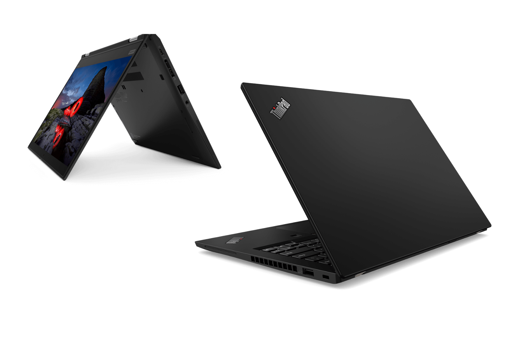 Lenovo ThinkPad X13 laptop in 3/4 rear view and ThinkPad X13 Yoga in tent mode at 3/4 front view
