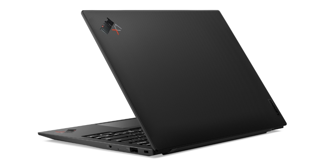 Rear side of Lenovo ThinkPad X1 Carbon Gen 9 laptop open about 75 degrees, showing top cover in Carbon-Fiber Weave finish.