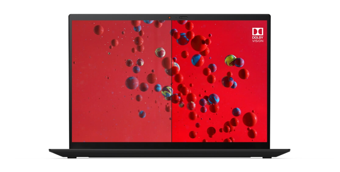 Detail of Lenovo ThinkPad X1 Carbon Gen 9 UHD display showing Dolby Vision on the right half of the screen and standard on the left.