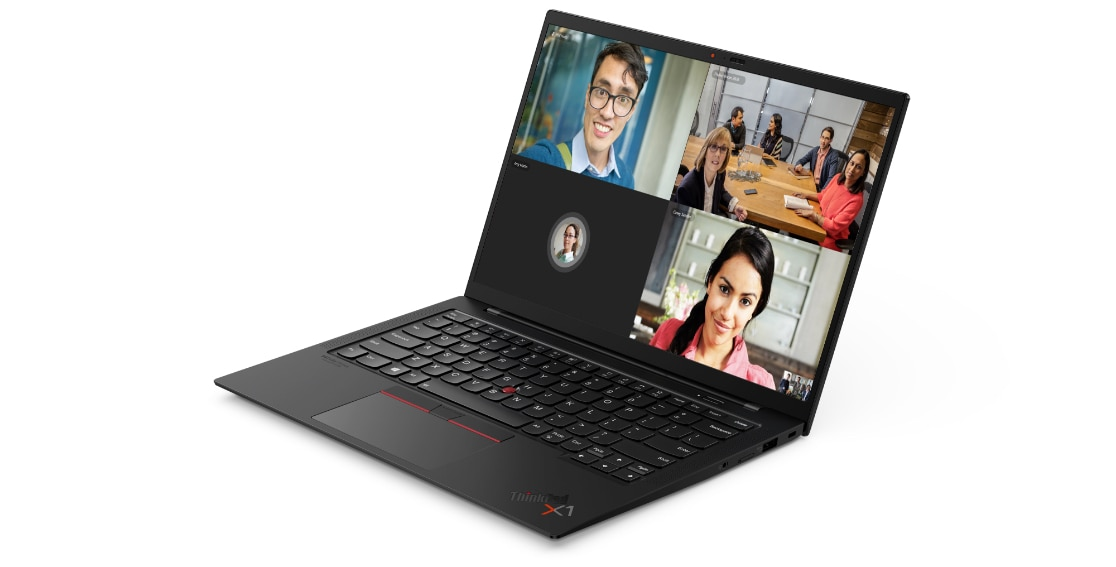 Front view of a video-conference on the Lenovo ThinkPad X1 Carbon Gen 9 laptop open 90 degrees and angled slightly to show right-side ports.
