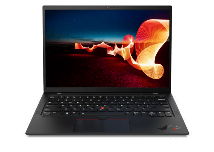 Front facing Lenovo ThinkPad X1 Carbon Gen 9 laptop with color-matched keyboard.