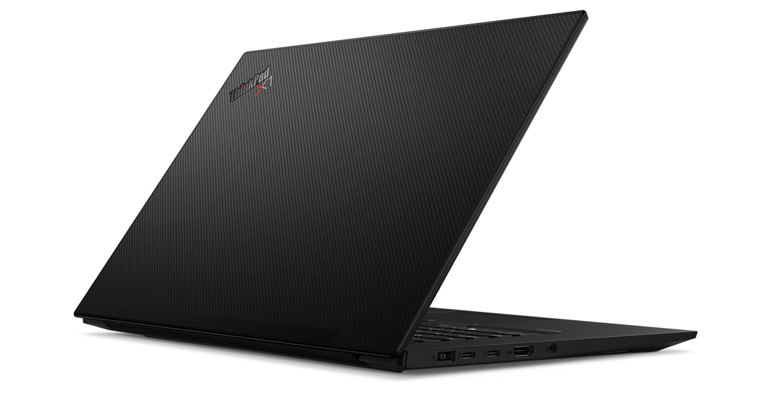 Rear view of Carbon-Fiber Weave finish on top cover of Lenovo ThinkPad X1 Extreme Gen 3 laptop.