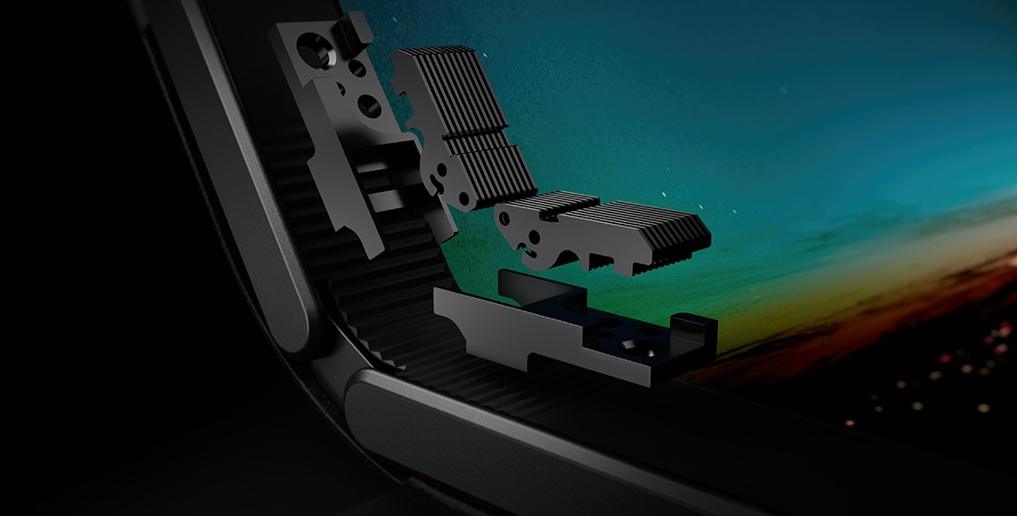 Closeup of Lenovo ThinkPad X1 Fold screen folding mechanism