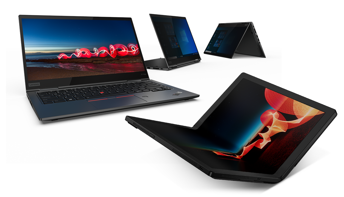 ThinkPad X1 family featuring an X1 Fold laptop, X1 Carbon laptop and two X1 Yoga laptops in tent and stand mode