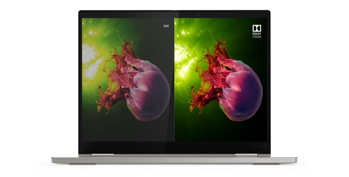 Headshot of 2K panel with Dolby Vision on the Lenovo ThinkPad X1 Titanium Yoga 2-in-1 laptop.