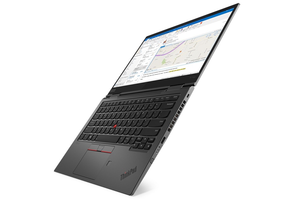 Lenovo ThinkPad X1 Yoga Gen 4 open 180 degrees and angled to show right side ports.