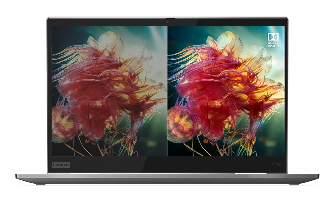 Lenovo ThinkPad X1 Yoga Gen 4  4K display with Dolby Vision on the right side, with Standard Dynamic Range display on the left.