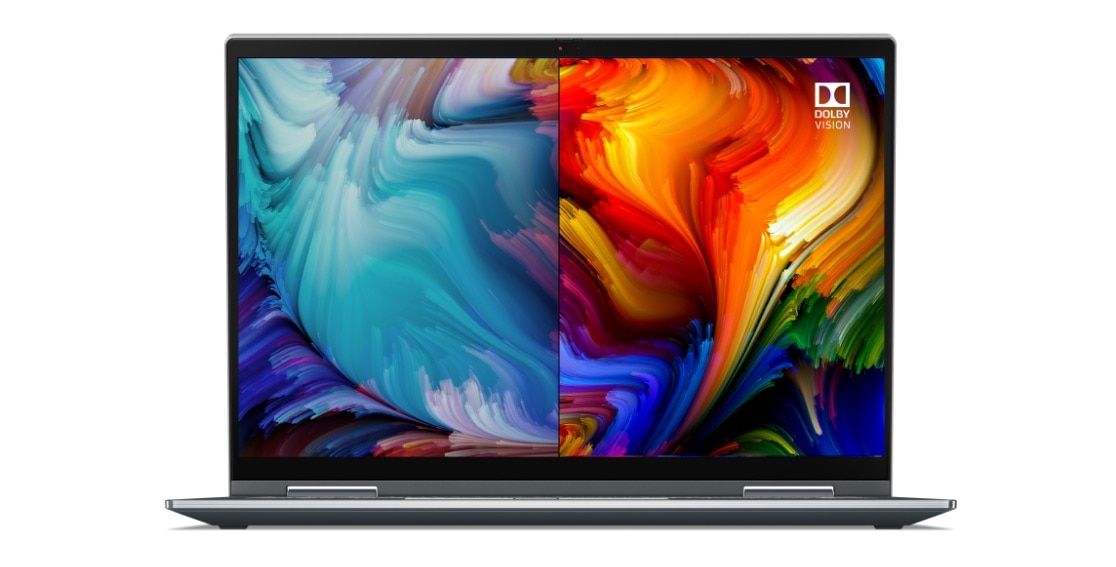 Gorgeous UHD display with Dolby Vision on the right side of panel on Lenovo ThinkPad X1 Yoga Gen 6 2-in-1 laptop.
