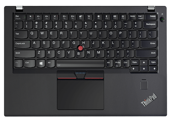 Award-winning keyboard with TrackPad and TrackPoint, on the ThinkPad X270 laptop.