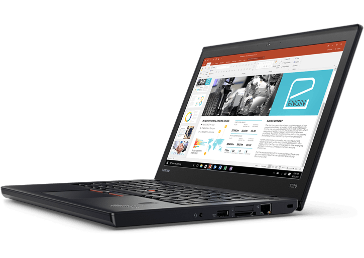 Lenovo ThinkPad X270 Laptop, front, angled view.