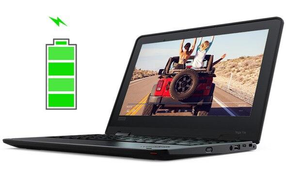 Lenovo ThinkPad Yoga 11e (5ta generación) con icono de batería llena.