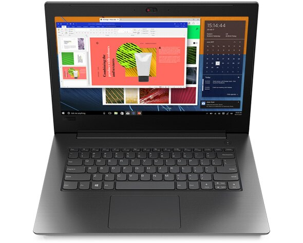 Front view of Lenovo V130 (14) laptop, open 90 degrees.