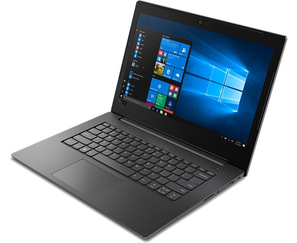 Lenovo V130 (14) laptop with Windows 10 Pro, angled slightly right to show ports and open 90 degrees.