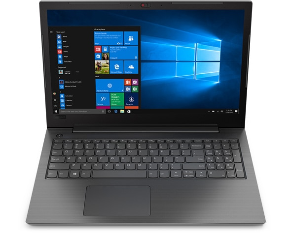 Front facing Lenovo V130 (15) laptop with Windows 10 Pro.