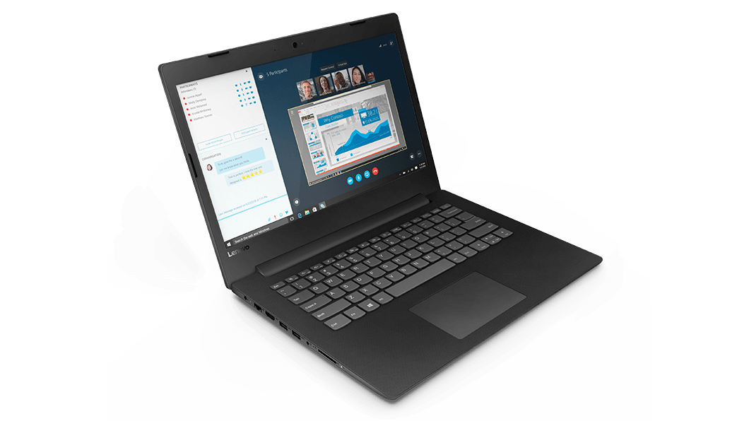 Lenovo V145 (14), front left angled view of display and keyboard.