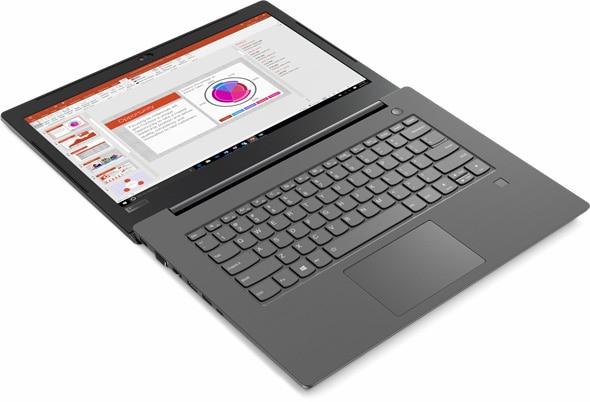 Lenovo V330 (14) abierto 180 grados y tendido plano