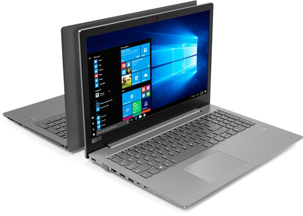 Lenovo V330 (15) in Iron Gray and Mineral Gray, front and back views