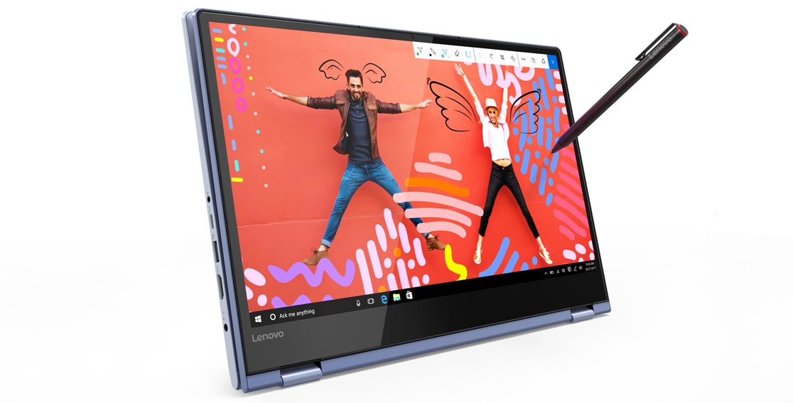 Lenovo Yoga 530 stylish 2-in-1 laptop, shown in Tablet mode with Lenovo Active Pen