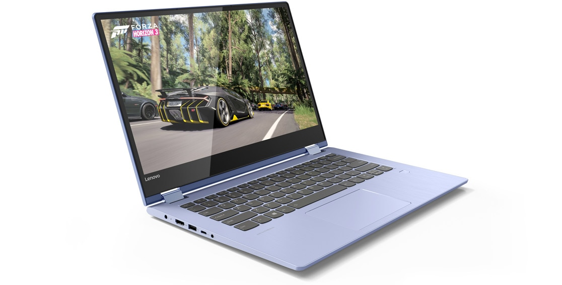 Lenovo Yoga 530 stylish 2-in-1 laptop, shown in Laptop mode from 3/4 front, playing Forza game
