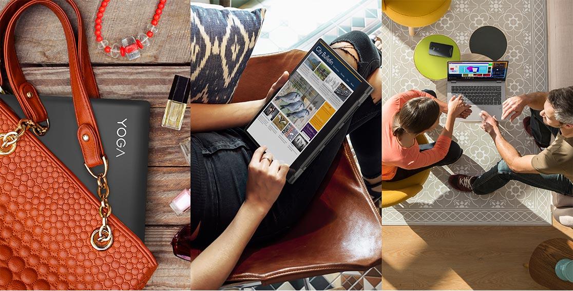 Lenovo Yoga 530 stylish 2-in-1 laptop, prikazan u torbi, na krilu, i na stolu izmeÄu dve osobe