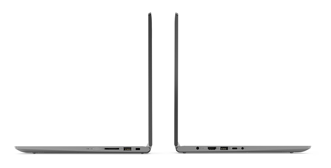 Lenovo Yoga 530 stylish 2-in-1 laptop, shown in Laptop mode from left and right, focusing on ports