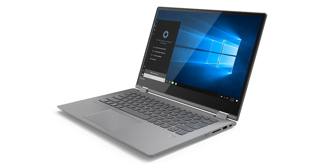 Lenovo Yoga 530 stylish 2-in-1 laptop, shown in Laptop mode 3/4 front view, with Cortana onscreen