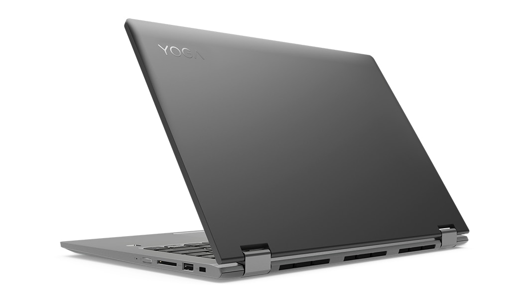 Lenovo Yoga 530 stylish 2-in-1 laptop, shown in black in Laptop mode, partially closed, from 3/4 rear