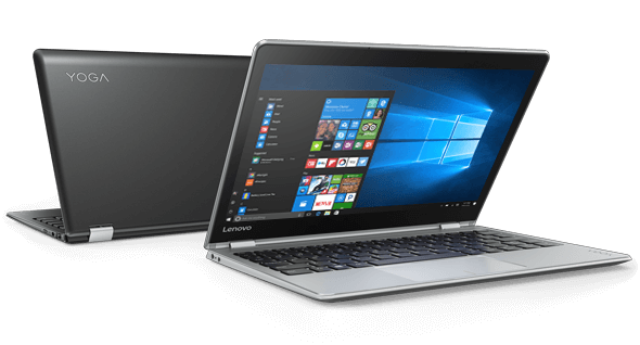 Lenovo Yoga 710 in silver and black, front and back views