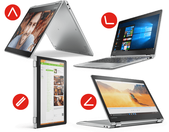 Lenovo Yoga 710 in silver, in 4 different stances