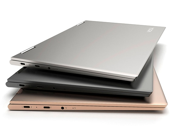 Lenovo Yoga 730 (13) laptop in Iron Grey, Platinum Silver, and Copper